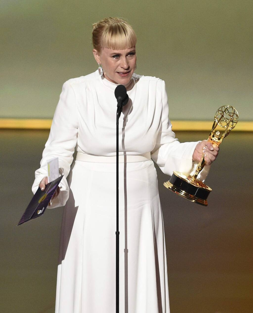 Patricia Arquette accepts the award for outstanding supporting actress in a limited series or movie for 'The Act' at the 71st Primetime Emmy Awards on Sunday, Sept. 22, 2019, at the Microsoft Theater in Los Angeles. (Photo by Chris Pizzello/Invision/AP)