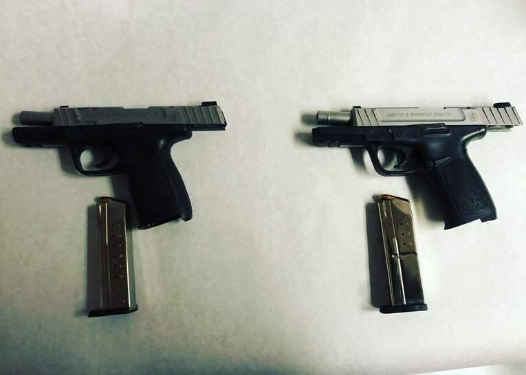 Two guns seized by Petaluma police during the arrest of two Oakland men on weapons, pimping and other charges on Tuesday, May 26, 2020. (Petaluma Police)