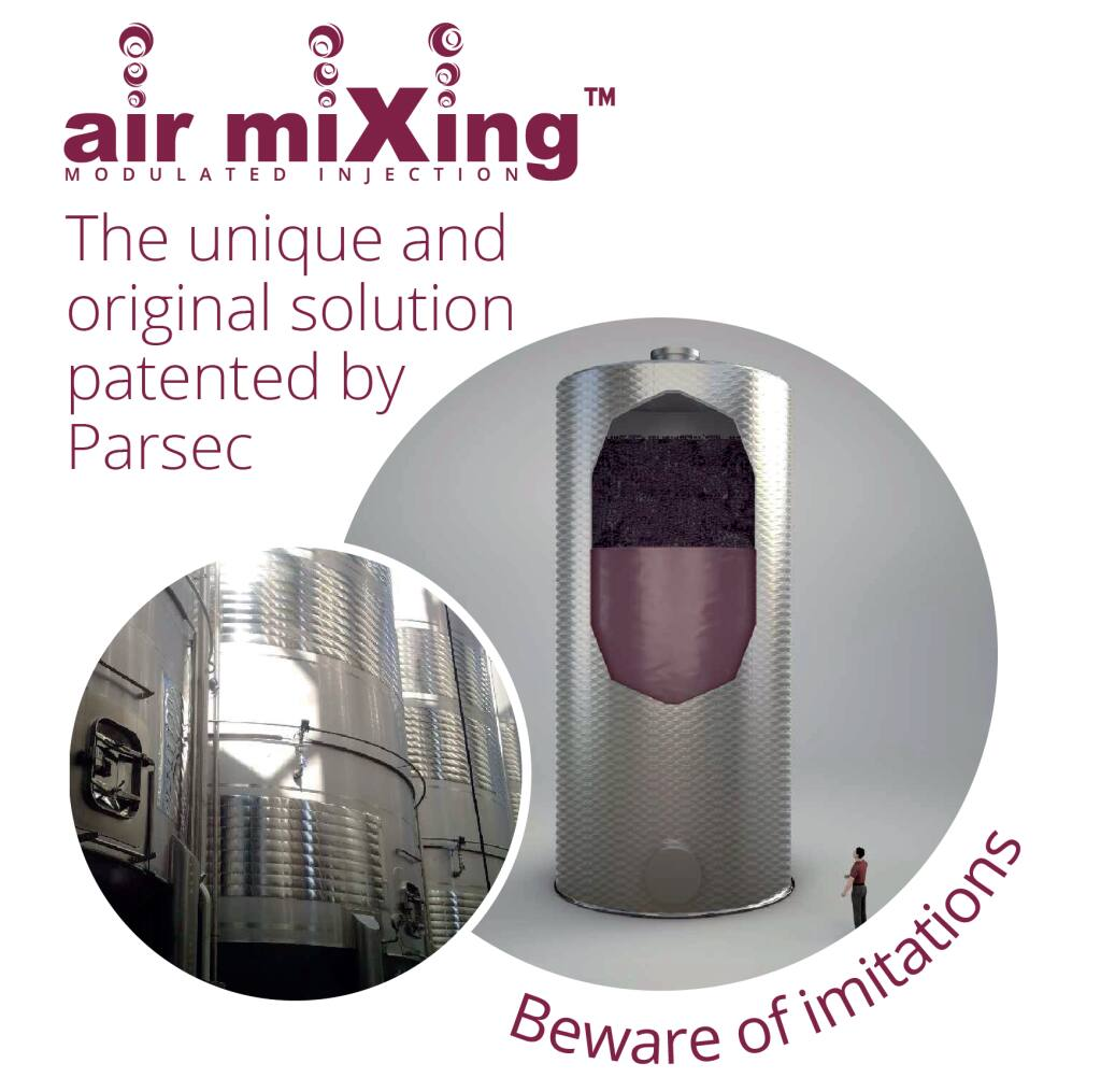 The Air Mixing M.I. (modulated injection) system developed by Parsec and distributed by ATPgroup is an innovative technique developed to break up the cap in the vinification of red wine. (courtesy of ATPgroup)