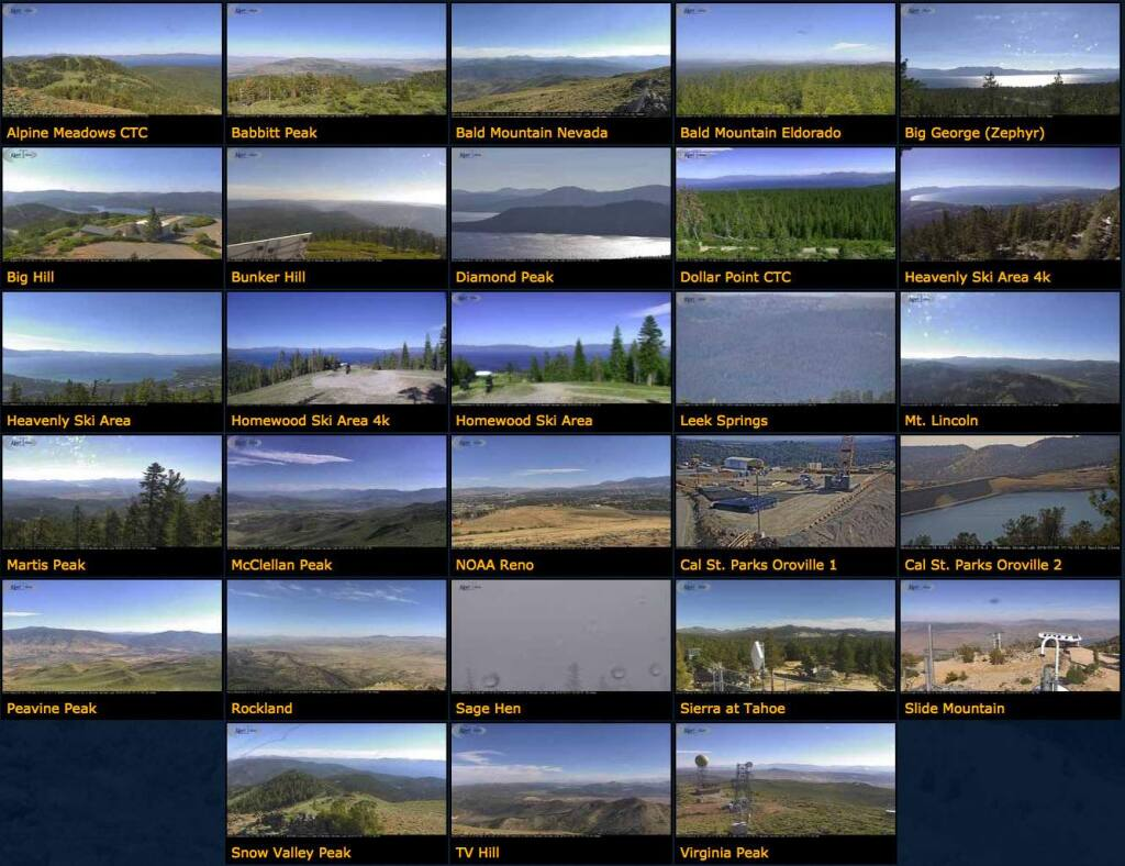 Multiple views from cameras positioned around Lake Tahoe. (Nevada Seismological Laboratory)