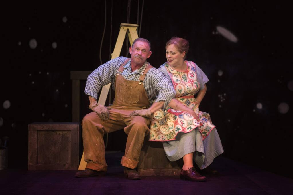 Mr. Bellomy (Michael Van Why) and Mrs. Hucklebee (Krista Wigle) conspire to get their kids together in Cinnabar Theater's 'The Fantasticks.'