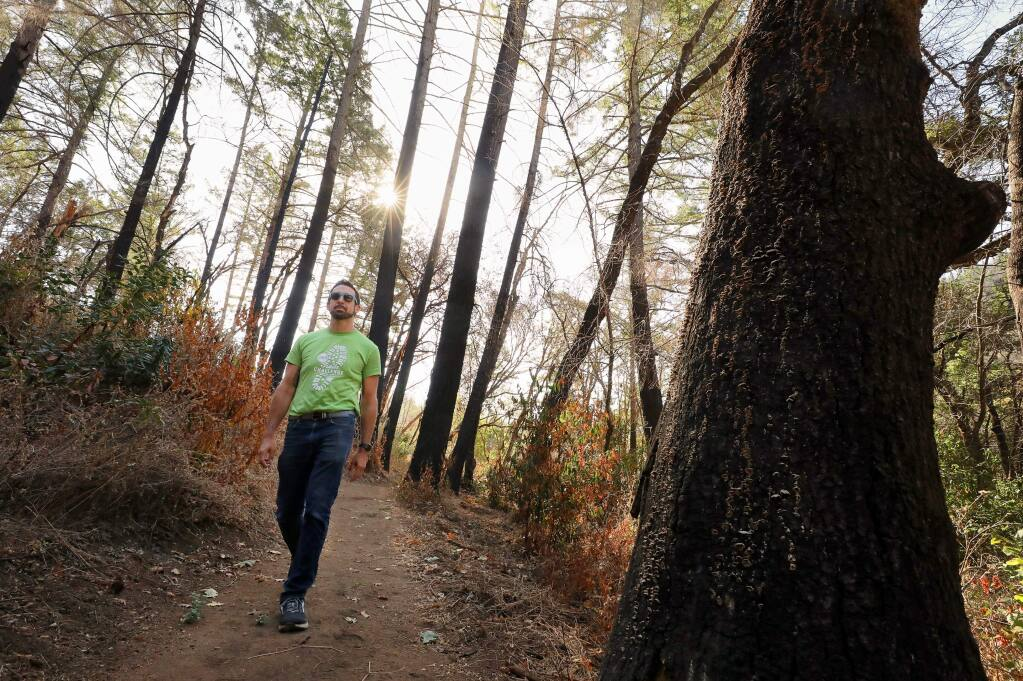 Justin Borton, a Sonoma County Parks Foundation board member, walks through the proposed Mark West Creek Regional Park & Preserve near Santa Rosa on Wednesday, Sept. 11, 2019. Borton, a self-appointed parks advocate, challenged himself to visit 55 regional parks in 55 days. (Christopher Chung/ The Press Democrat)