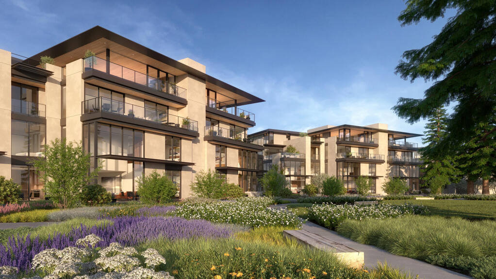 A rendering of future market-rate condominiums at the Mill District development in Healdsburg. A mix of 208 homes for sale and for rent, including 40 affordable apartments, will be built at the city's main entry over the next decade. (Replay)