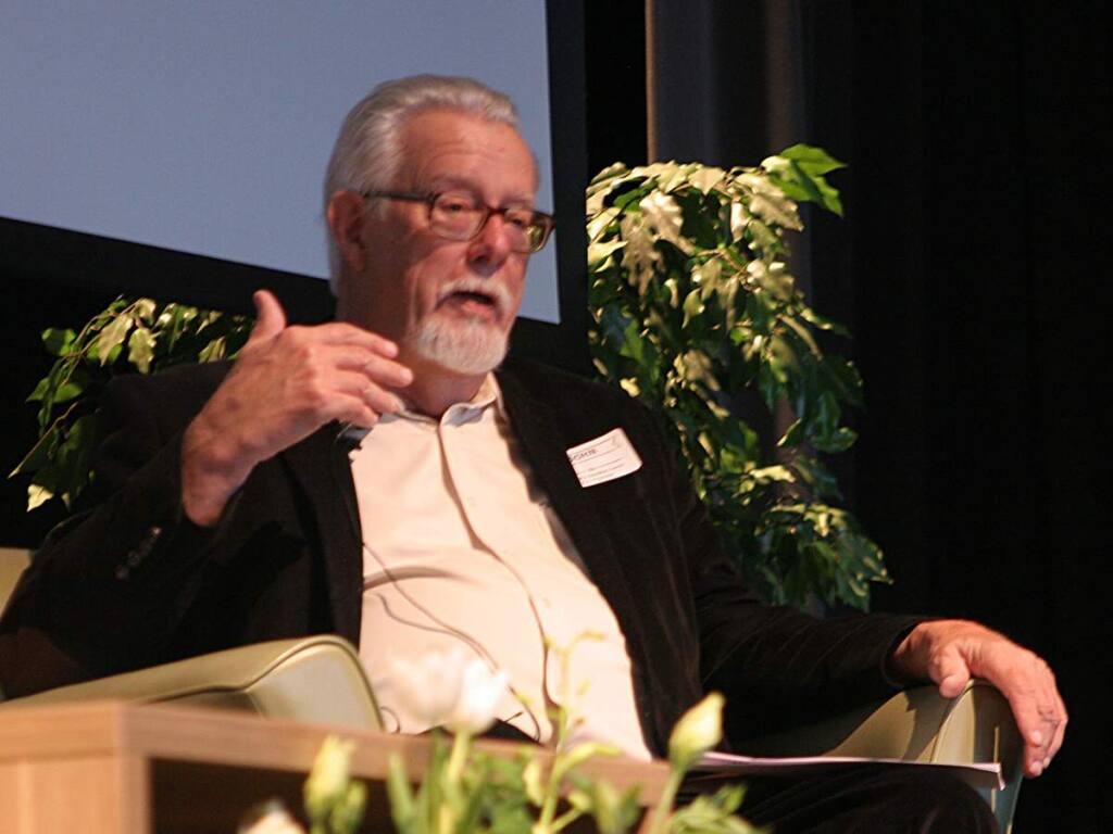 John McChesney, at a Sonoma Speakers Series event in April, 2017. (Christian Kallen/Index-Tribune)