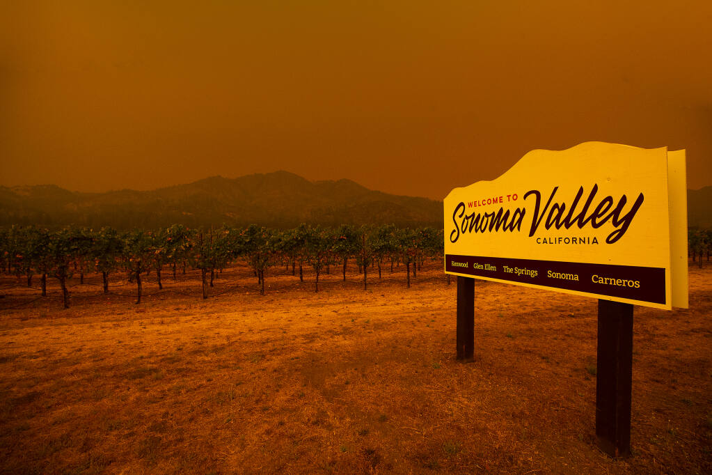 Smoke from numerous Northern California fires turned the skies over the Sonoma Valley and Mt. Hood dark red on Wednesday, September 9, 2020.  (Photo by John Burgess/The Press Democrat?