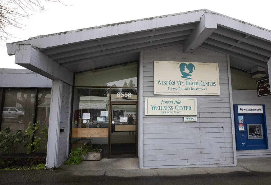 The Forestville Wellness Center was forced to close after a small bathroom fire caused smoke damage. Services will move to the Gravenstein Health Center in Sebastopol for a few months for repairs. (photo by John Burgess/The Press Democrat)