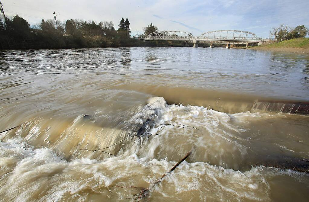 The Russian River is bank to bank at Memorial Beach, Tuesday Feb. 14, 2017. (Kent Porter / The Press Democrat) 2016