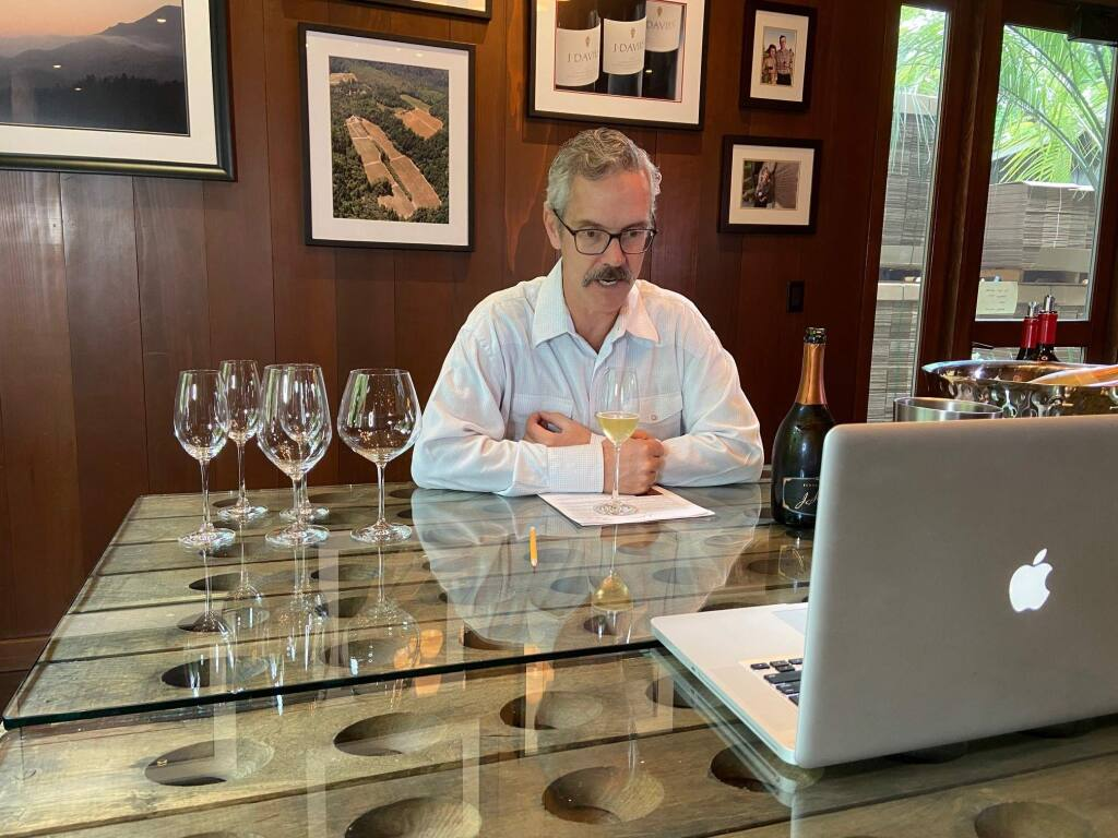 Hugh Davies, proprietor of Napa Valley's Schramsberg Vineyards, conducts a private virtual tasting via video conference in 2020. Direct-to-consumer marketing experts say that remote tastings have been a critical lifeline for small wineries dependent on tasting rooms to connect with customers, but these consultants say that these virtual experiences should be part of an overall strategy of customer acquisition and retention. (courtesy of Schramsberg Vineyards)