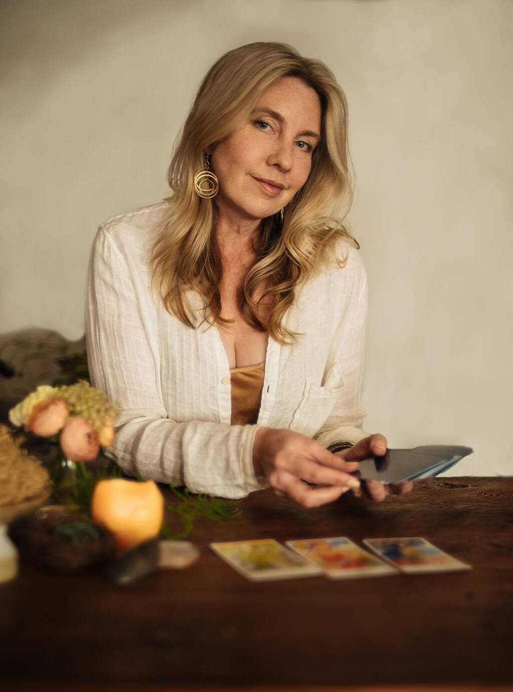 GOOD FORTUNE: Petaluma artist Karen Hess, with her new Spark Tarot deck, bringing a modern sensibility to an old tradition.