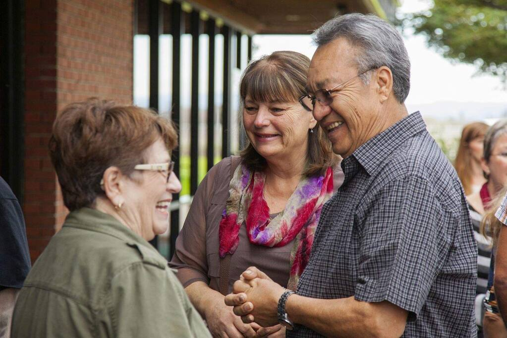 Wendy Mattola, left, whose child has autism, with Becoming Independent supporters Lynne Talafili and Simon Rameriz at the launch of the new independent-living program in February 2016.