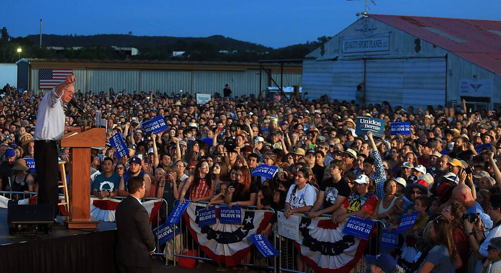Senator Bernie Sanders of Vermont speaks to a large crowd at the Cloverdale airport during a rally, Friday, June 3, 2016. (Kent Porter / Press Democrat) 2016