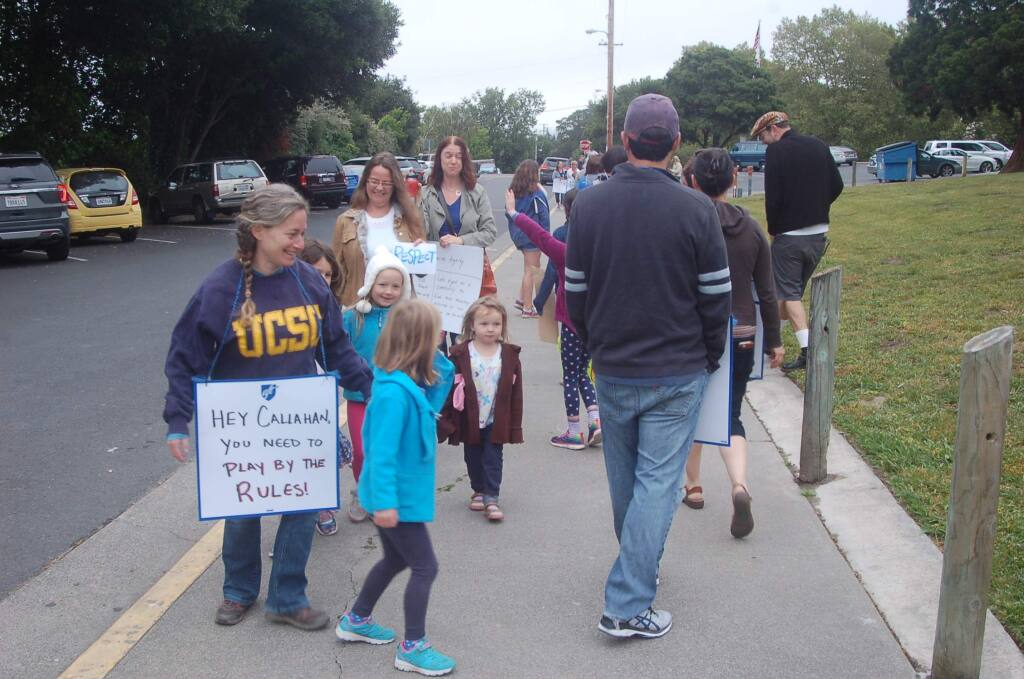 Petaluma teachers demonstrate at Mary Collins School at Cherry Valley on Wednesday, May 24. Teachers staged a one-day strike amid a labor dispute with the school district. MATT BROWN/ARGUS-COURIER STAFF