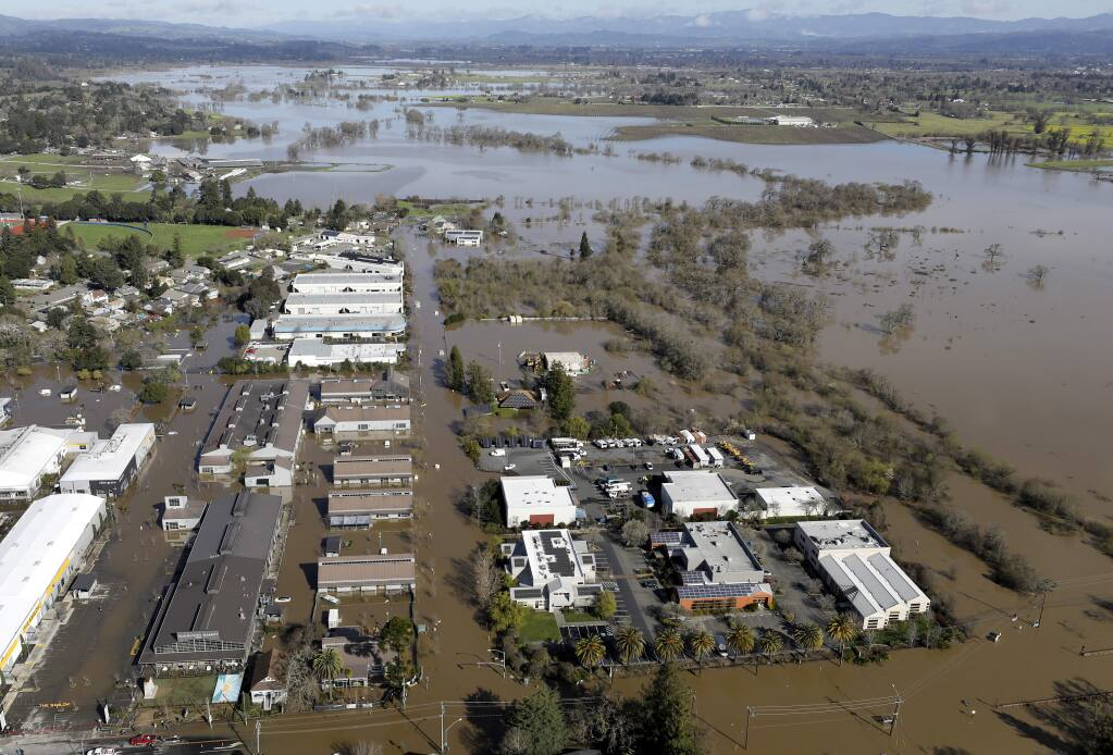 Floodwaters near The Barlow in Sebastopol on Thursday, February 28, 2019. (BETH SCHLANKER/ The Press Democrat)