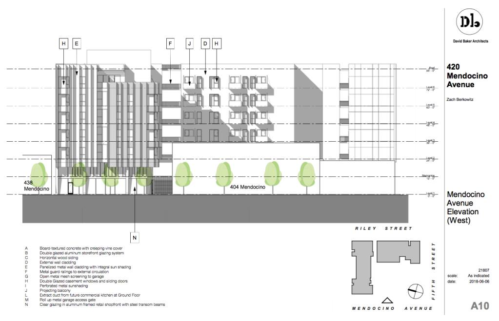 A side view of the proposed six-story residential building at 420 Mendocino Avenue, 433 Riley Street, and 611 Fifth Street in Santa Rosa. (Zach Berkowitz / David Baker Architects)