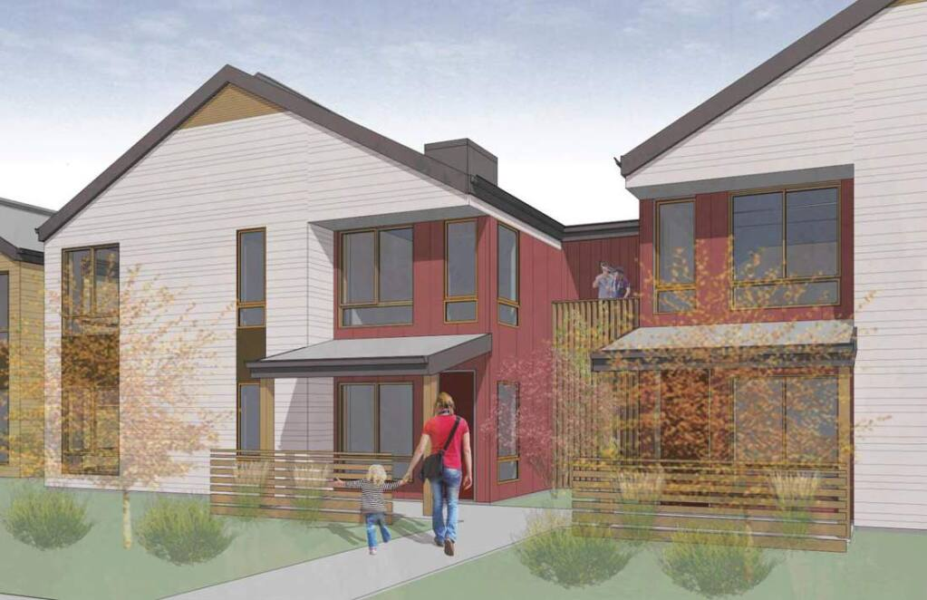 Architect's rendering of a two-unit apartment facing Clay St. in Sonoma's Altamira Affordable Housing project, 20269 Broadway. (SAHA)