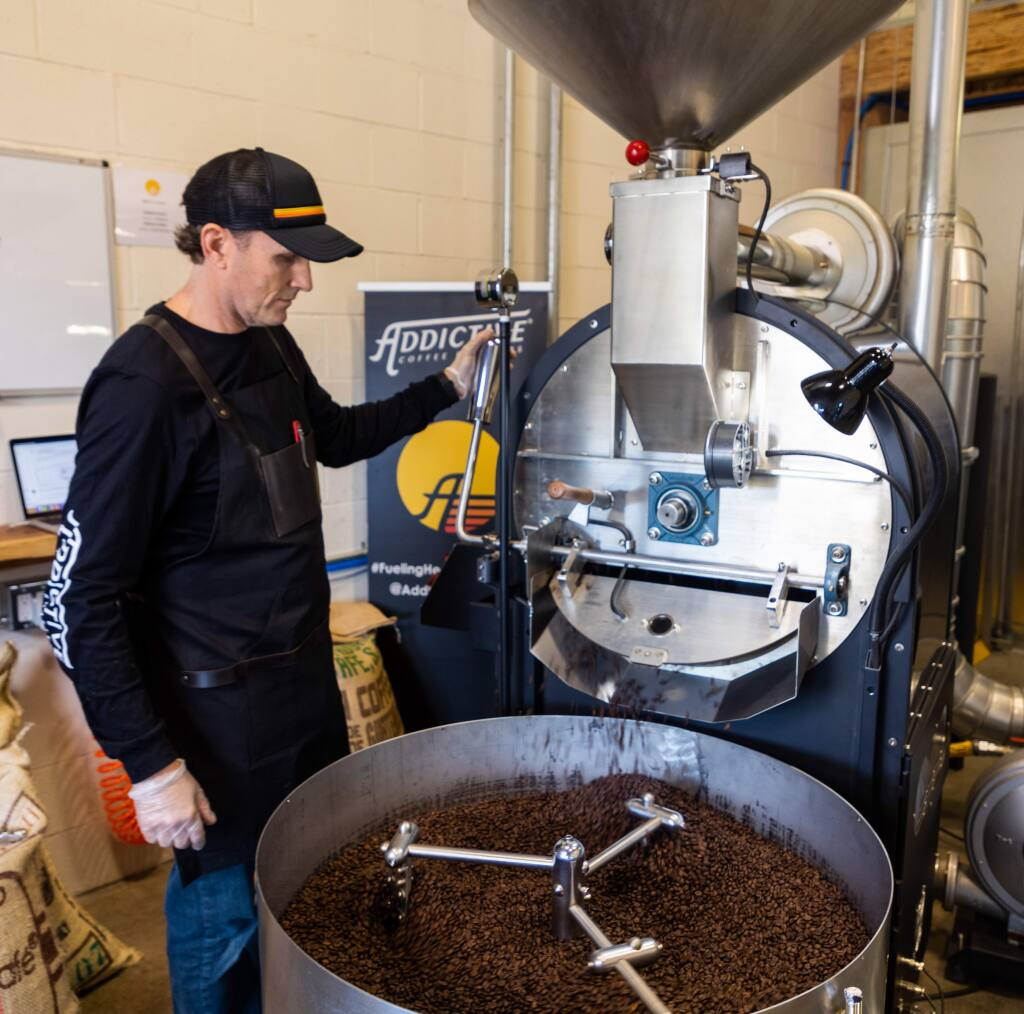 Addictive Coffee Chief Executive Officer Mike Ralls has evolved with his coffee business, from his garage to a roasting rental space in Berkeley to a plant in San Rafael in 2020. (Sean Cope photo)