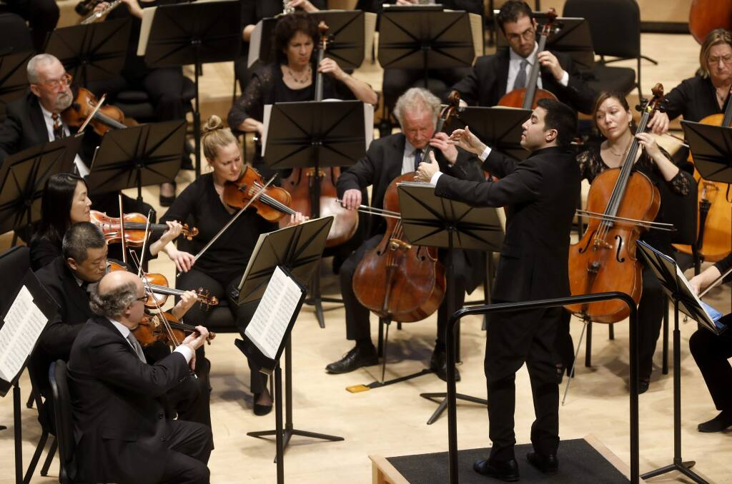 Francesco Lecce-Chong conducts the Santa Rosa Symphony as they perform Mozart's Symphony No. 40 in G minor, K. 550 at the Green Music Center in Rohnert Park on Sunday, Jan. 13, 2019. (BETH SCHLANKER/ PD)