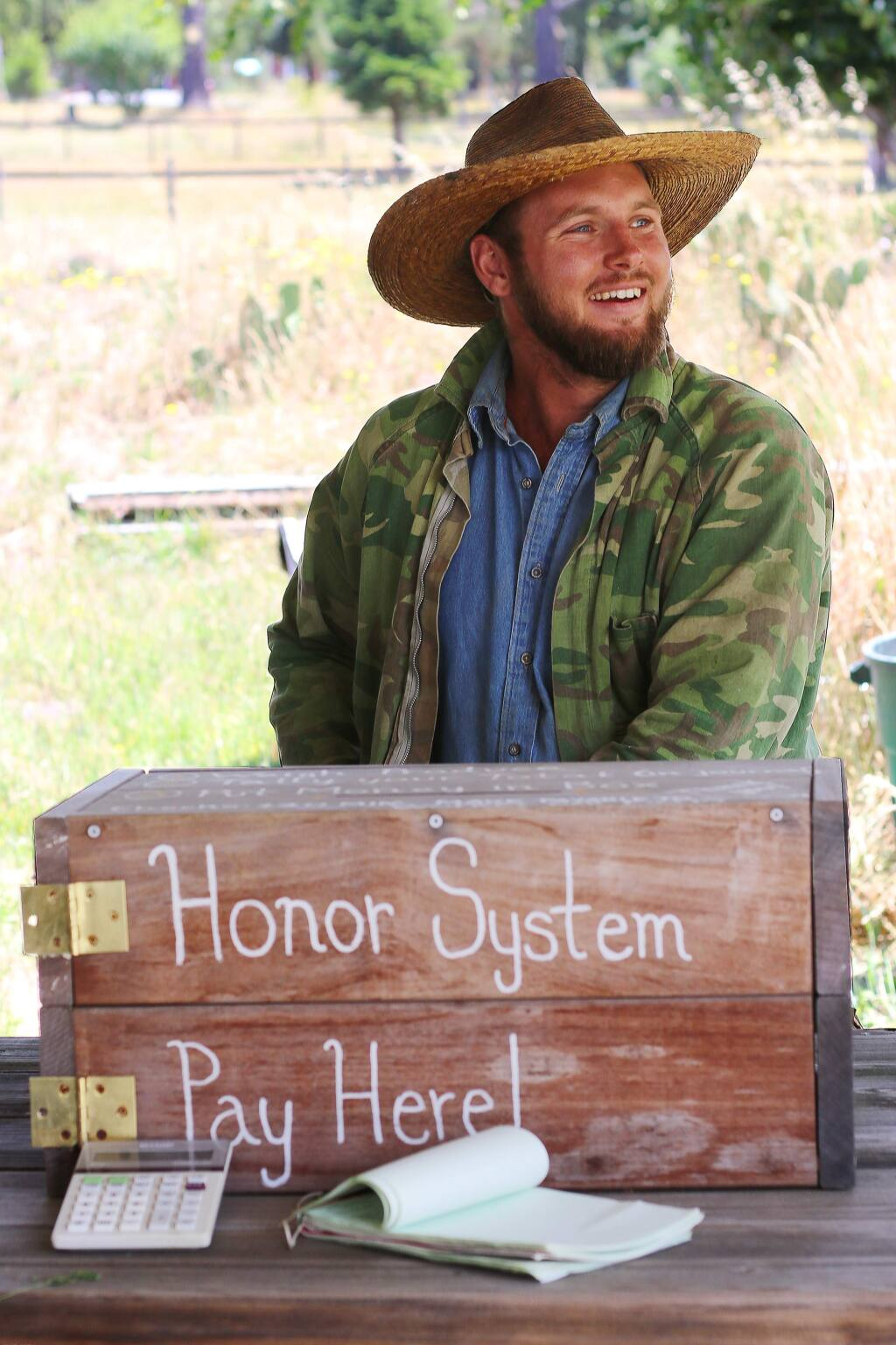 Farmer Will Scott of Worker Bee Farm in Freestone, California has a farm stand Friday through Monday during summer and fall seasons. (Heather Irwin/PD)