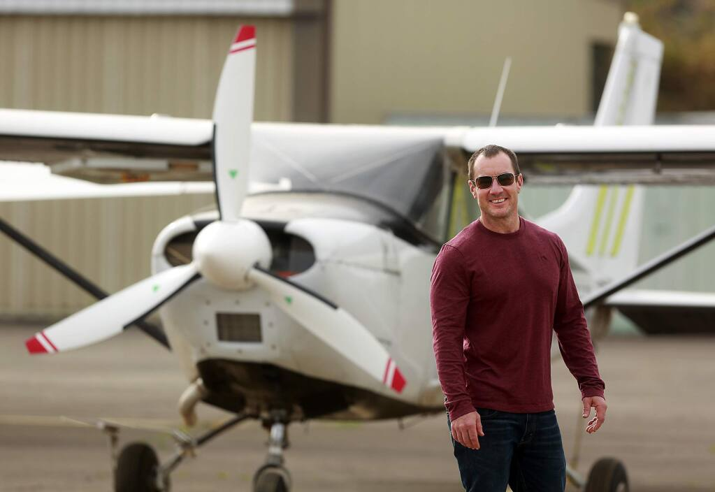 Jimmy Halliday, President and Jumpmaster at NorCal Skydiving is facing complaints from neighbors around the Cloverdale Airport about the noise created by his business. (Photo by John Burgess/The Press Democrat)