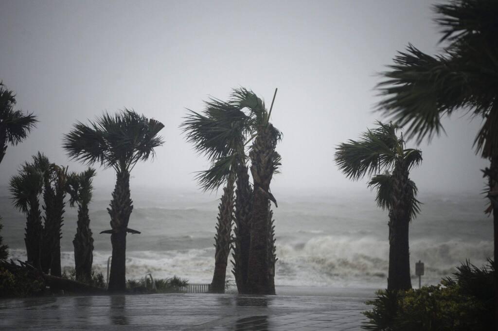 Waves crash onto the beach as Hurricane Dorian approaches Myrtle Beach, S.C., on Sept. 5, 2019. (Bloomberg photo by Luke Sharrett)