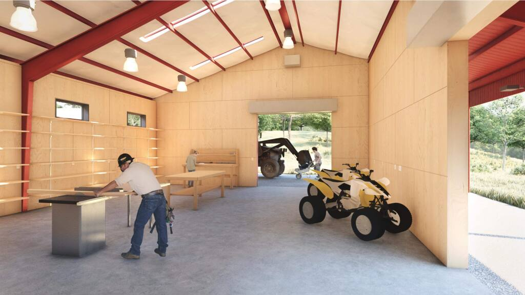 An architect's rendering shows the interior of the new barn to be built at Pepperwood Preserve. (Pepperwood Preserve)