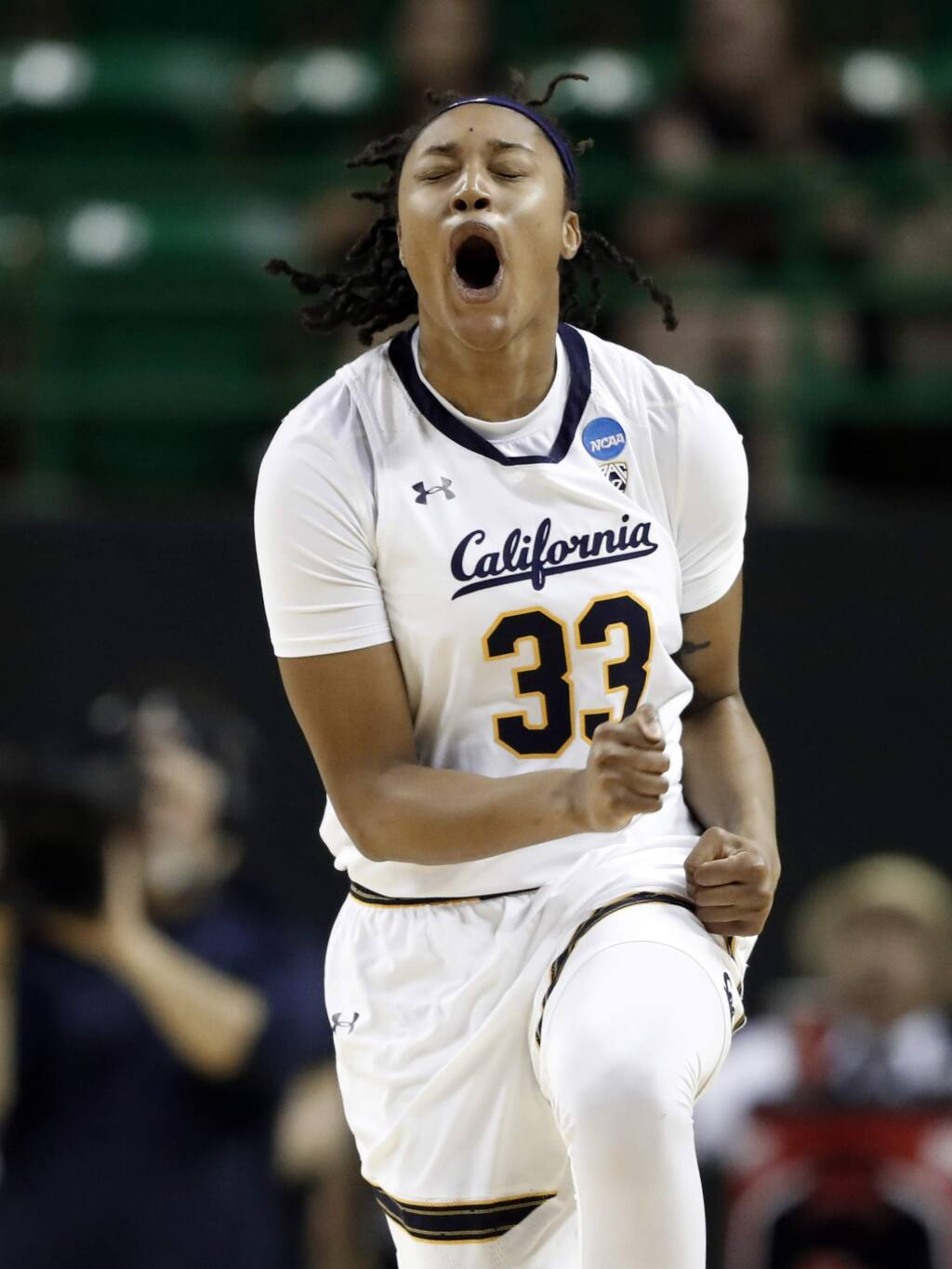 Cal guard Jaelyn Brown celebrates sinking a basket against North Carolina in the NCAA Tournament in Waco, Texas, Saturday March 23, 2019. (AP Photo/Tony Gutierrez)