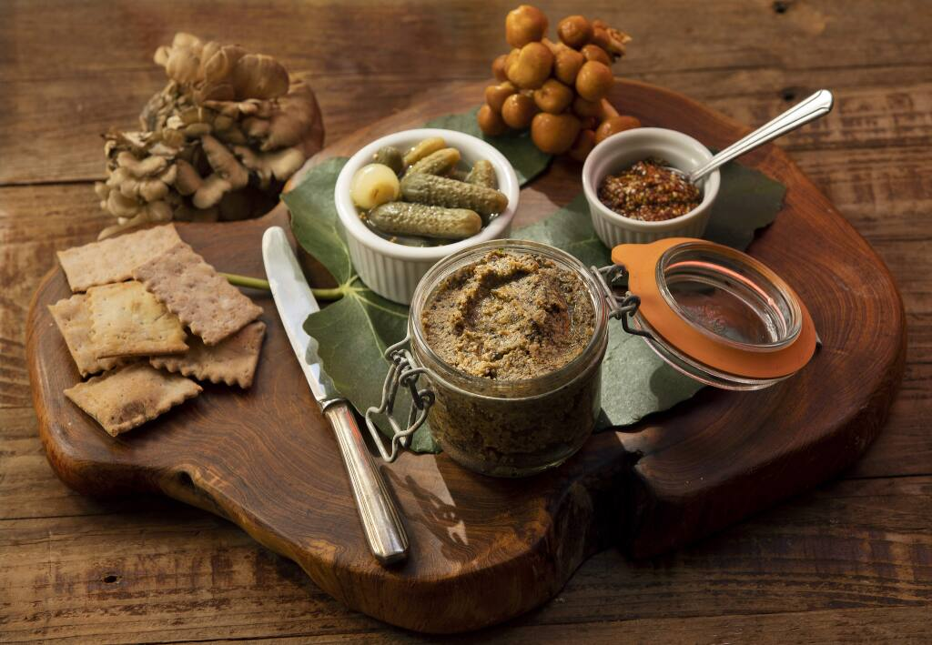 Mushroom pate with with crisp crackers, as the French do, with some little cornichons and grainy mustard on the side. (photo by John Burgess/The Press Democrat)