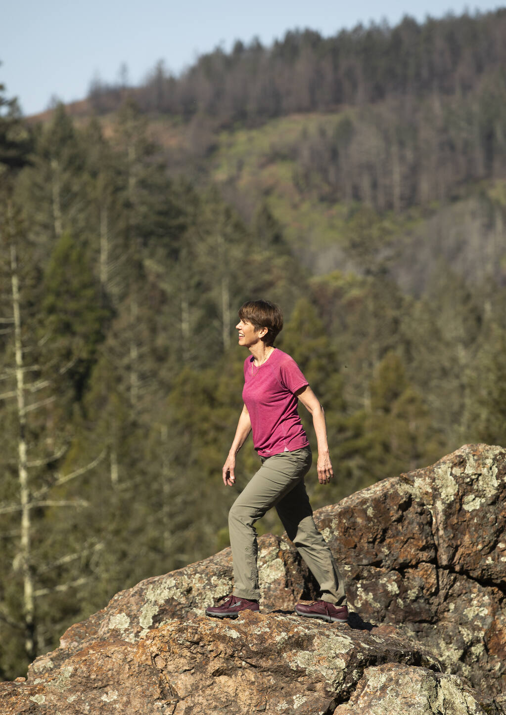 Inga Aksamit of Kenwood has traveled the world and most of California in search of great walks like Sugarloaf State Park on Friday, April 2, 2021.   (John Burgess / The Press Democrat)