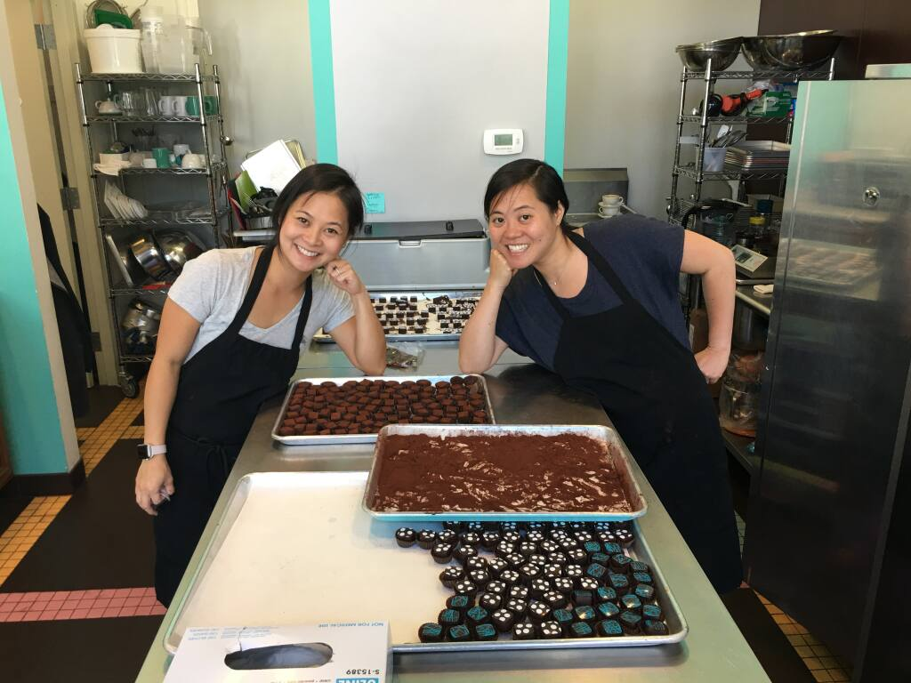 Sôcôla Chocolatier co-founders Wendy Lieu, left, and Susan Lieu grew up in Santa Rosa. They have incorporated their family's Vietnamese flavors into the truffles they sell from a San Francisco storefront.( Sôcôla Chocolatier)