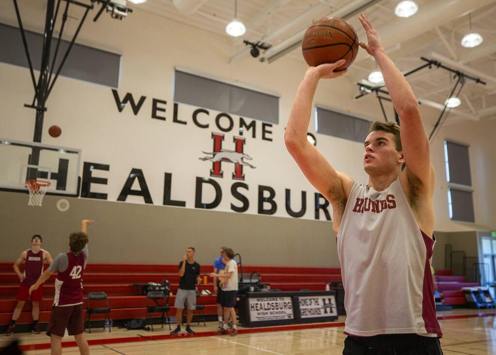 Healdsburg High senior Dylan Hayman shoots free throws during practice on Thursday, May 27, 2021. Hayman broke the school's 35-year-old basketball scoring record. (John Burgess / The Press Democrat)