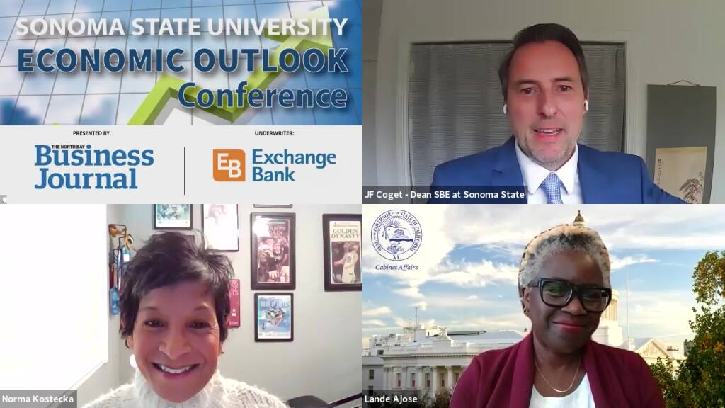 North Bay Business Journal Publisher Norma Kostecka speaks with SSU Economic Outlook Conference speakers SSU School of Business and Economics Dean J.F. Coget and Lande Ajose, Ph.D., higher education adviser to Gov. Gavin Newsom, on Tuesday, Feb. 16, 2021. (video screenshot)