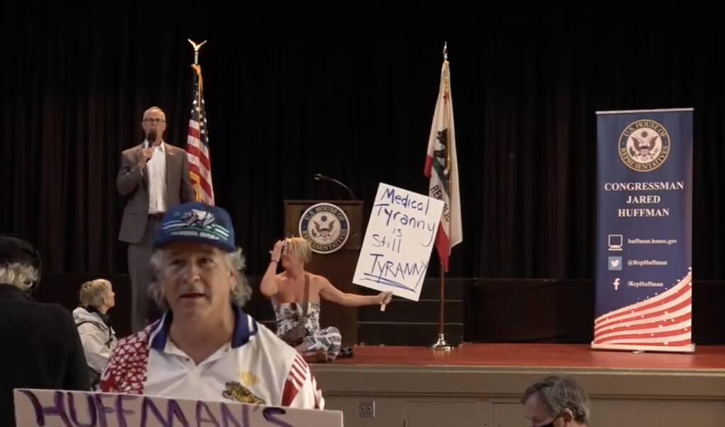 Screenshot from the Facebook stream of U.S. Rep. Jared Huffman's town hall meeting at the San Rafael Community Center on Tuesday, June 7, 2021.