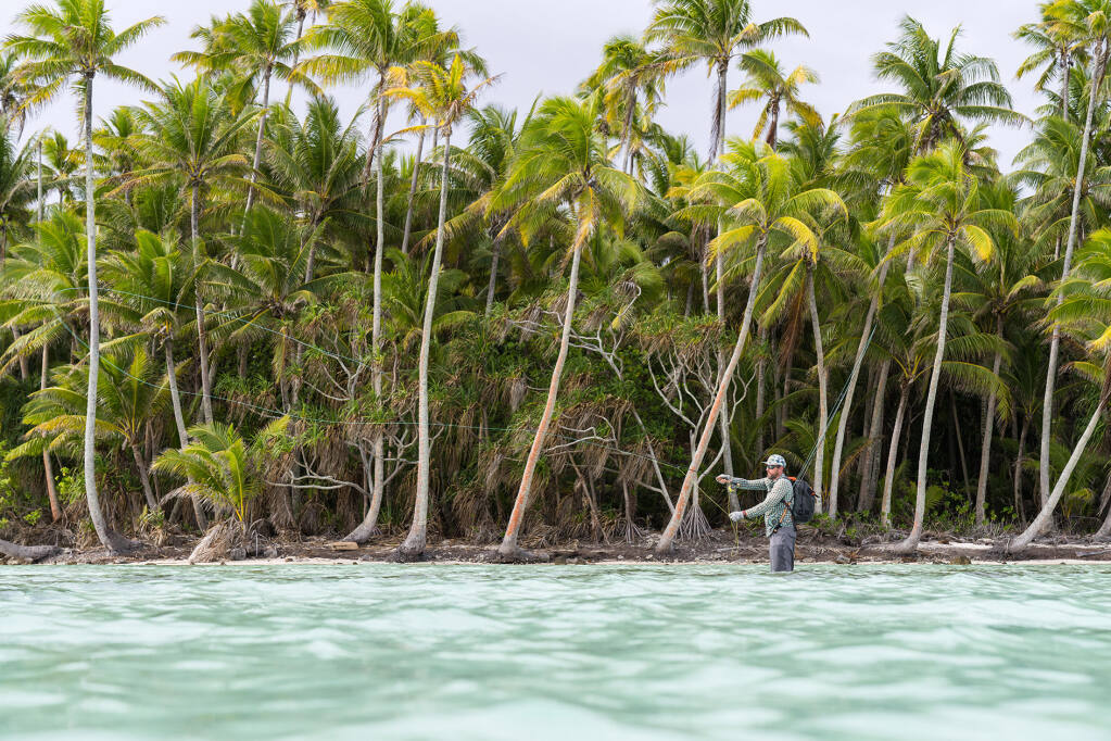 """Fly-fishing the """"flats,"""" or the shallow lagoons of French Polynesia, in the film """"Tetiaroa"""" as part of the 15th annual Fly Fishing Film Tour,  March 10-April 4. (Josh Hutchins/Aussie Fly Fisher Productions)"""