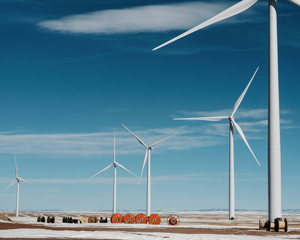 The Dunlap Wind Farm in Carbon County, Wyoming, Feb. 1, 2021. Despite its historic ties to coal, as well as local denialism about climate change, Carbon County is soon to be home to one of the biggest wind farms in the nation. (Benjamin Rasmussen/The New York Times)