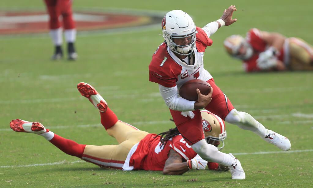 Kyler Murray of the Cardinals runs for yardage against the 49ers, Sunday, Sept. 13, 2020 in Santa Clara. (Kent Porter / The Press Democrat) 2020