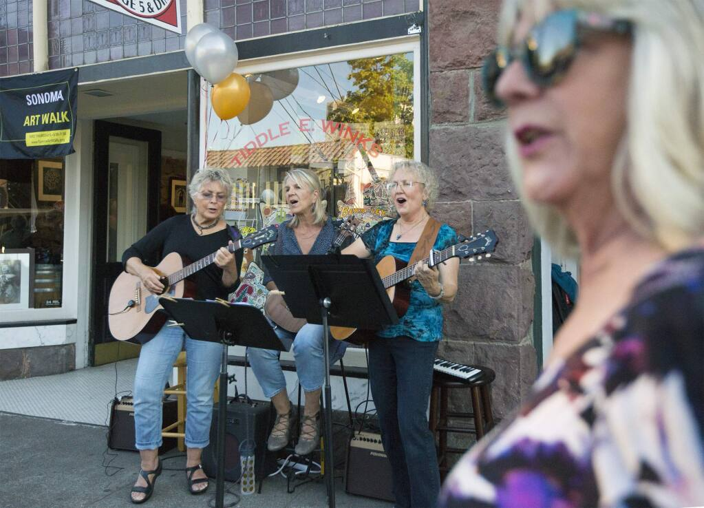 Music from the DollyMammas was featured by Tiddle E. Winks on East Napa St. The first Sonoma Art Walk took place in Sept. All around the Plaza, local businesses and galleries joined in helping showcase local artisans. (Photo by Robbi Pengelly/Index-Tribune)
