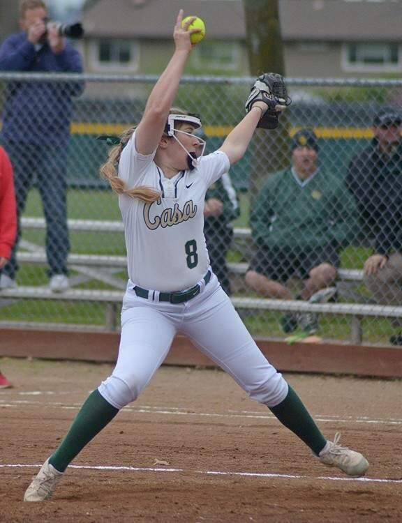 SUMNER FOWLER/FOR THE ARGUS-COURIERKatie Machado provides strong pitching for Casa Grande.