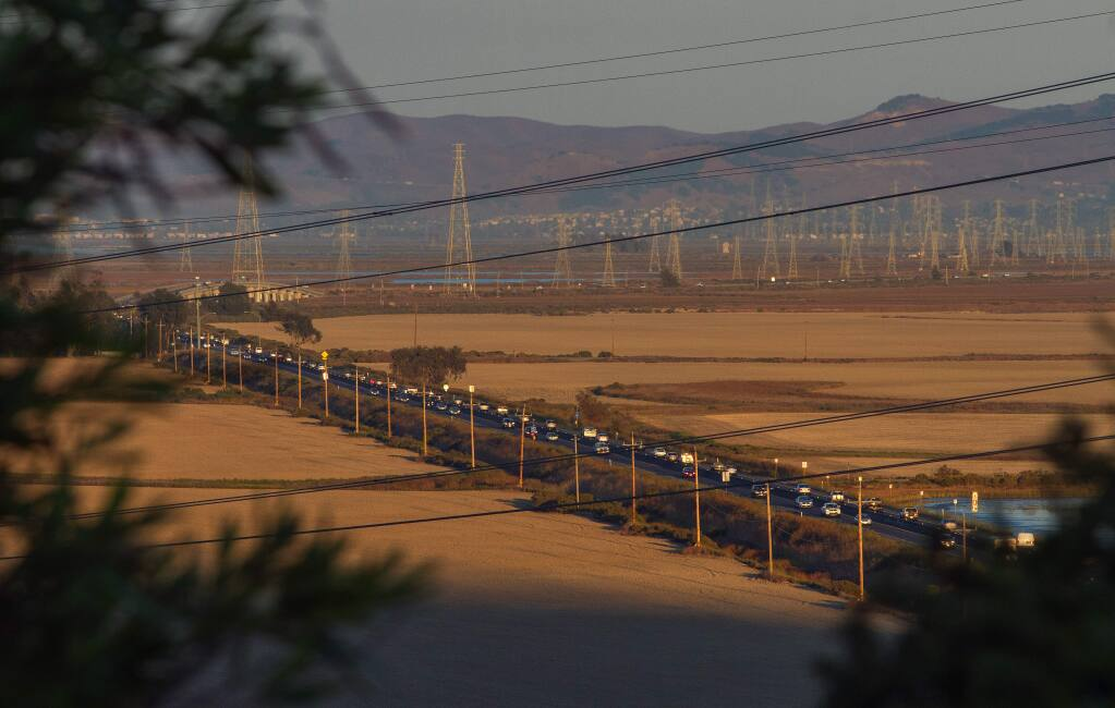 A new four-lane toll causeway for Highway 37 between Sears Point and Mare Island is being discussed to reduce the traffic jams that occur daily on Highway 37. (ROBBI PENGELLY / Sonoma Index-Tribune)