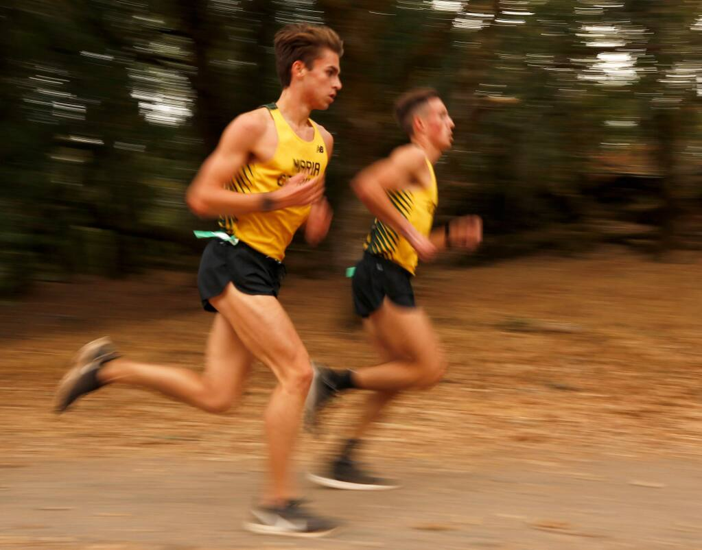 Maria Carrillo's Rory Small, left, and Colton Swinth compete in a North Bay League-Oak Division cross country meet at Spring Lake Park in Santa Rosa on Wednesday, Oct. 16, 2019. (Alvin Jornada / The Press Democrat)