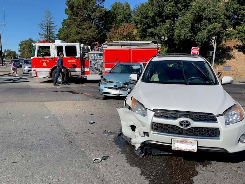 Cars involved in a crash at E Street and Bennett Valley Road in Santa Rosa on Wednesday, Oct. 9, 2019. (SANTA ROSA POLICE DEPARTMENT)