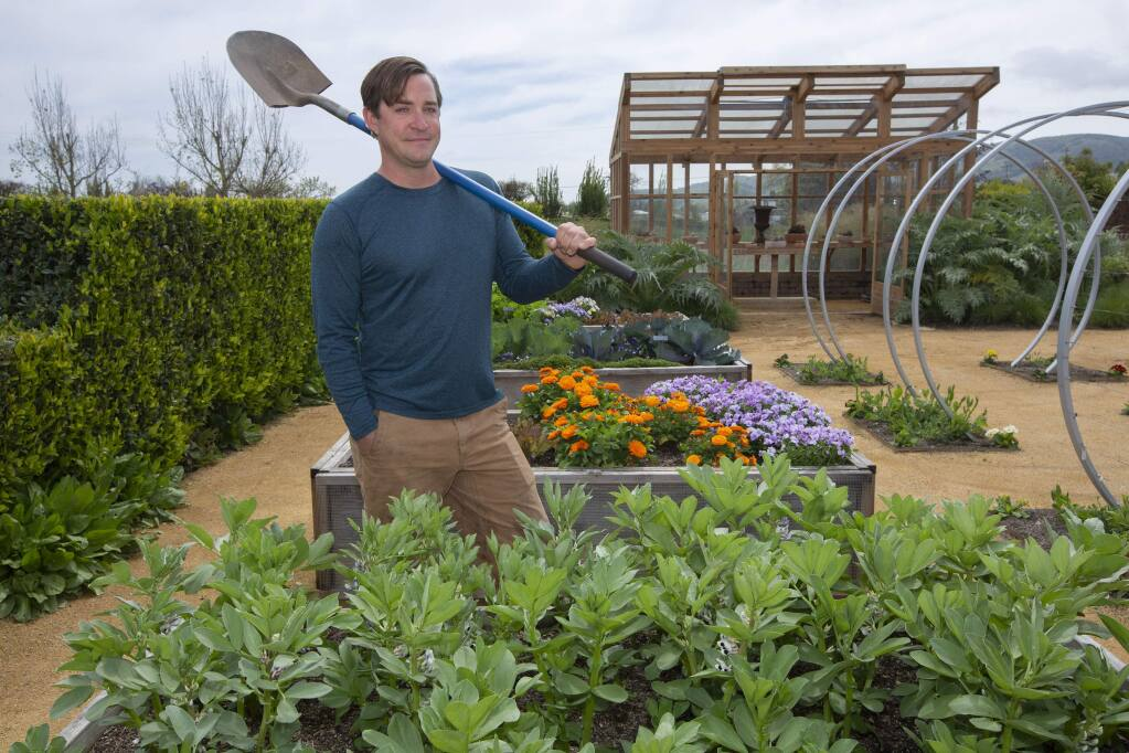 Christopher Landercaster, standing behind a growth of fava beans, oversees the gardens at Cornerstone. (Photo by Robbi Pengelly/Index-Tribune)