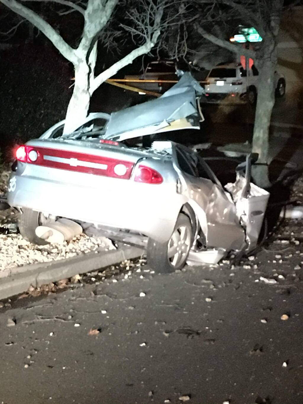 An 18-year-old woman was killed and the driver arrested after a suspected DUI crash in east Santa Rosa on Sunday, Jan. 1, 2017. (COURTESY OF SANTA ROSA POLICE DEPARTMENT)