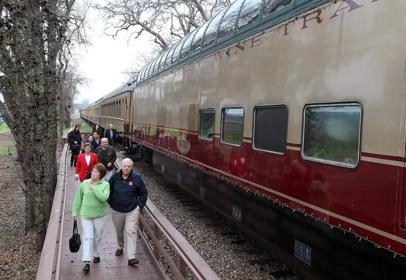 Passengers disembark the Napa Valley Wine Train to take a tour of Grgich Hills Winery, in Rutherford, on Friday, January 29, 2010.