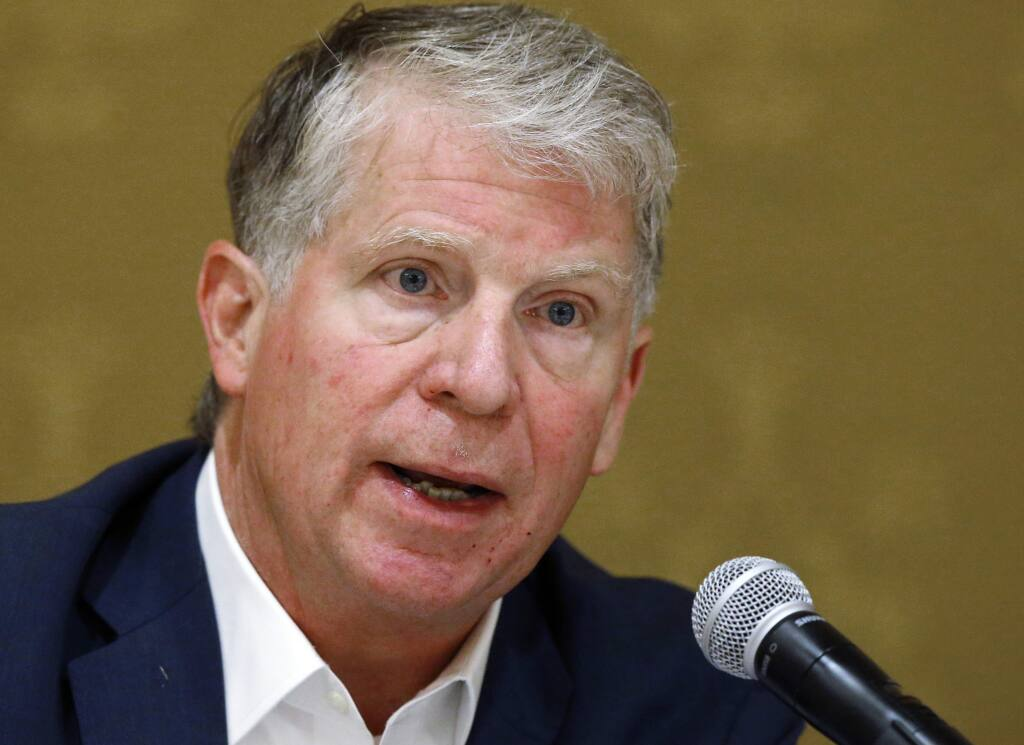 FILE - In this Sept. 27, 2018, file photo, Manhattan District Attorney Cyrus R. Vance Jr. speaks during a discussion in Salt Lake City. A federal judge has rejected President Donald Trump's challenge to the release of his tax returns for a New York state criminal probe. The returns had been sought by Vance. (AP Photo/Rick Bowmer, File)