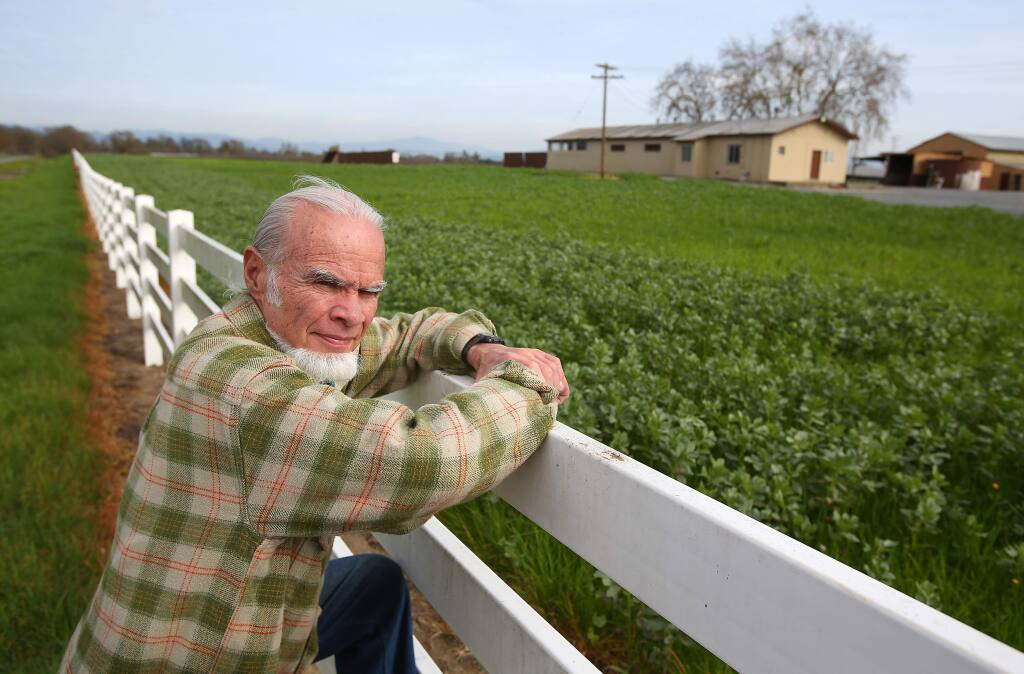 Sebastopol resident Shepherd Bliss is opposed to the large winery and distillery proposed by a Napa County vintner at the site of a former dairy along Highway 12, east of Llano Road. (CHRISTOPHER CHUNG/ PD)