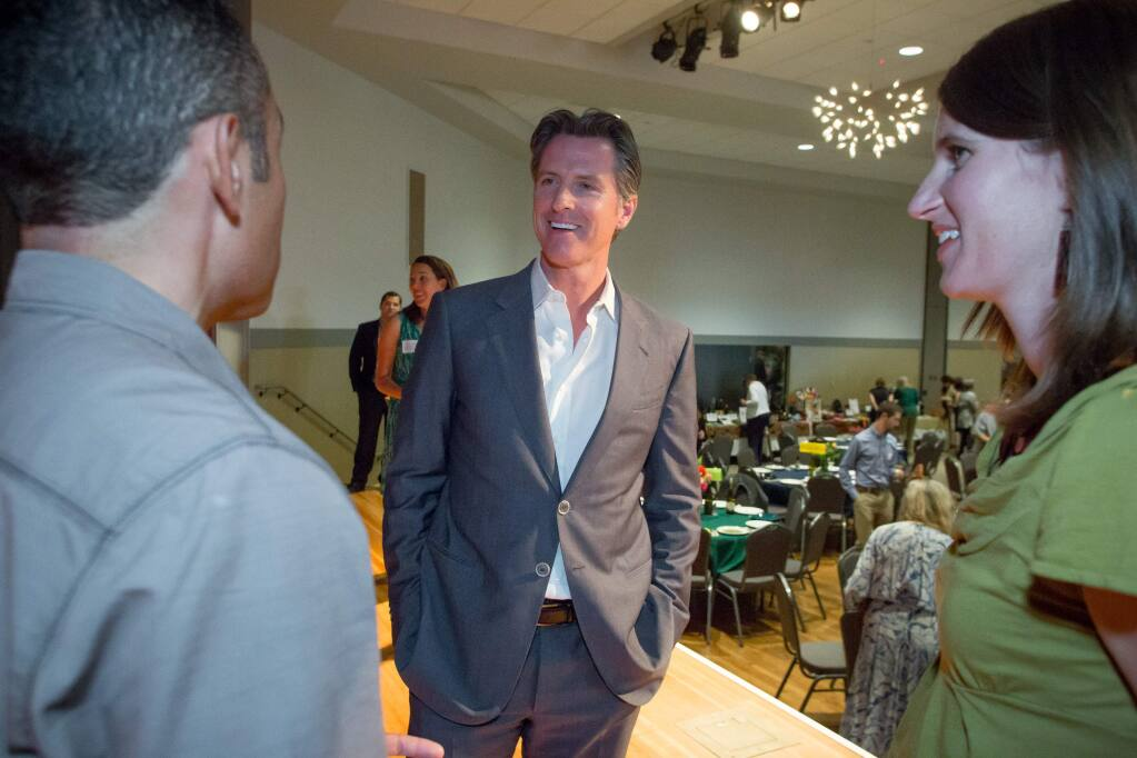 California Lt. Governor Gavin Newsom greets guests to the Conservation Action's Annual Grassroots Gala, in Santa Rosa, Calif. Saturday, June 10th, 2017. Newsom was the event's keynote speaker. (Jeremy Portje / For The Press Democrat)