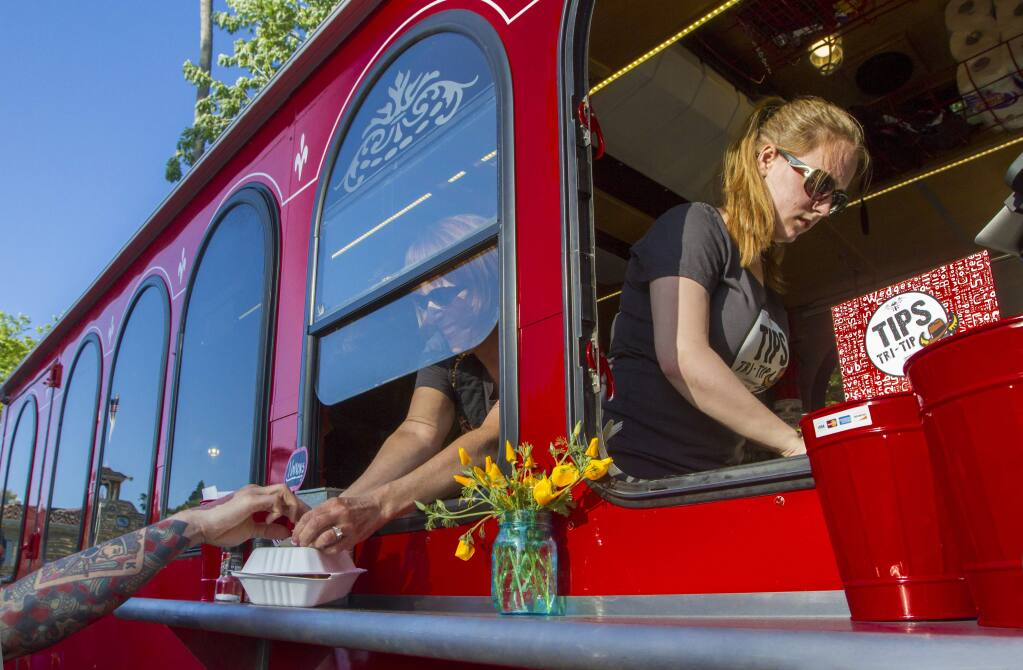 The TIPS Tri-Tip Trolley at the Sonoma Farmers Market. (File photo by Robbi Pengelly/Index-Tribune)
