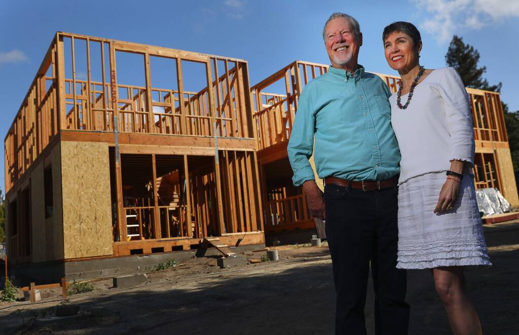 Orrin and Terri Thiessen at the site of their newest development, Green Valley Village, near downtown Graton on Wednesday, August 29, 2018. (Christopher Chung/ The Press Democrat)