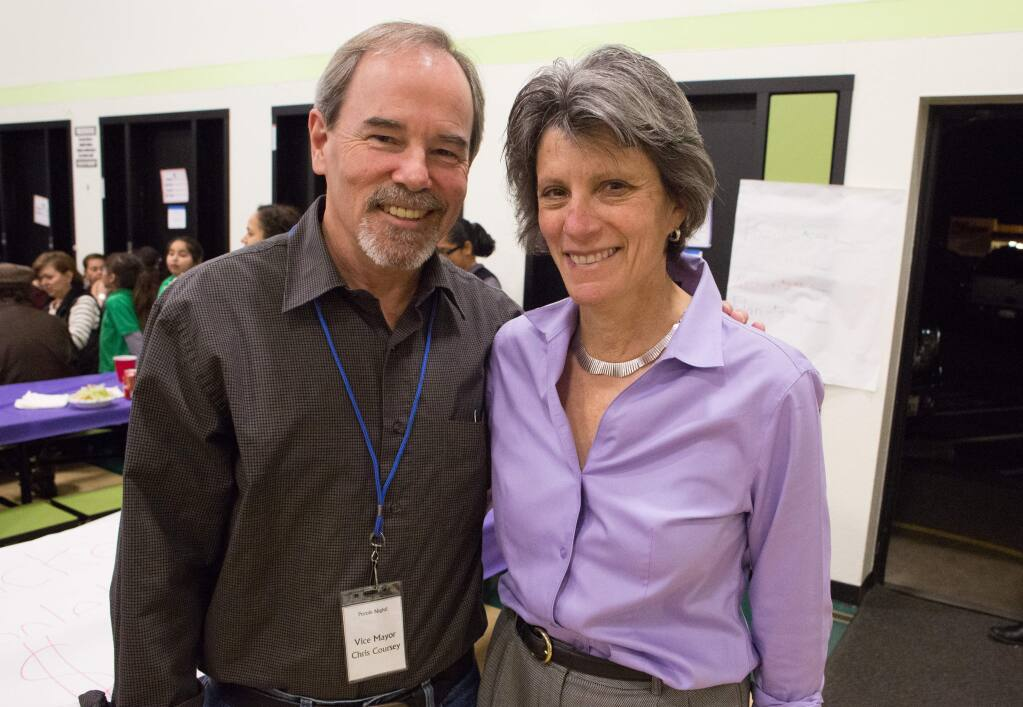 Chris Coursey, left, Santa Rosa vice mayor, and Jill Ravitch, Sonoma County district attorney attend Pazole Night a fundraiser at Roseland Elementary School in Santa Rosa, Calif. Friday January 30, 2015. EDS NOTE: NAMES CQ