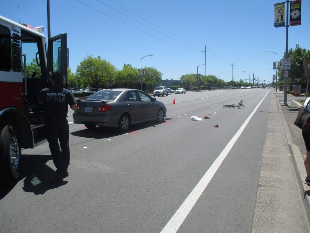 A cyclist was injured after colliding with a car on Santa Rosa Avenue on Monday, May 1, 2017. (COURTESY OF SANTA ROSA POLICE DEPARTMENT)
